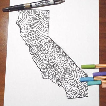 california coloring map usa america book planner journal kids adults digital download zen colouring printable digital lasoffittadiste