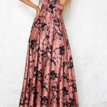 Pink Floral Spaghetti Strap Draped Backless Plunging Neckline Sleeveless Maxi Dress