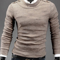 Beige Epaulet Design Long Sleeves Wool Sweater