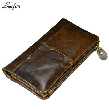 Vintage Men's genuine Leather long Wallet With removable zipper phone pocket Cow leather bifold snap wallet Cowhide checkbook