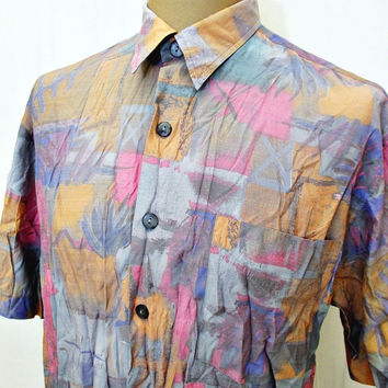 Vintage 80s Shirt Crazy Print Pattern American Oversized Large