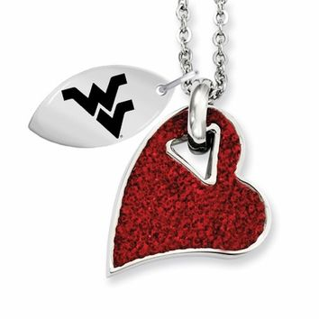 Buy West Virginia Mountaineers Stainless Steel and Red Crystal Heart Necklace. College Jewelry