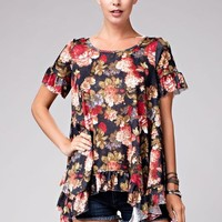 Floral Ruffle Hem Top - Black Mix