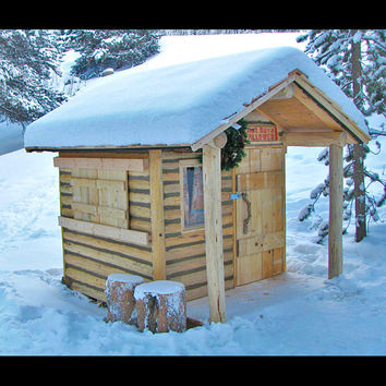 Cabin Decor Log Cabin Playhouse - log furnishing, rustic cabin, writing shed, garden shed, studio