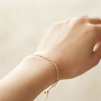 Hot Sale 1Pc Simple Silvery/Golden Adjustable Exquisite Copper Beads Double-Layer Bracelet Women/Girl Bangle Chain Fashion Gift