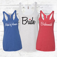 Bridal Party Tank Tops - Military Bride - 4th of July Country Wedding - 4th of July Bachelorette Party - Red, White & Blue -
