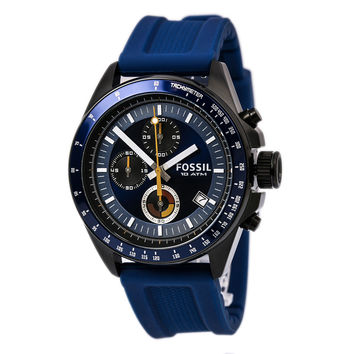 Fossil CH2879 Men's Decker Chronograph Blue Dial Blue Silicone Strap Watch