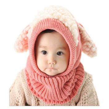 Winter Rabbit Ear Kids Baby Hats Lovely Toddler Girl Boy Beanie Cap Warm Baby Hat+Hooded Knitted Scarf Set Earflap Caps