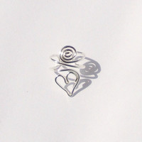 Ear Cuff Small Sterling Silver Heart and Spiral by stuffbyemily