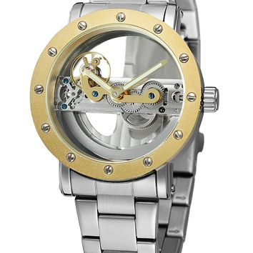 Shaarms Automatic Mechanical Watch Dial Hollow Skeleton Mens Waterproof Wrist Watches Rivet 1004
