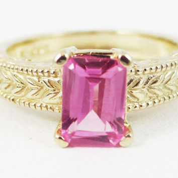Pink Sapphire Detailed 14k Yellow Gold Emerald Cut Ring, September Birthstone Ring, Emerald Cut Pink Sapphire, 14k Yellow Gold Filigree Ring