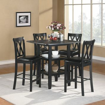 Home Elegance 2514BK-36 5 pc norman collection black finish wood counter height dining table set with upholstered seats