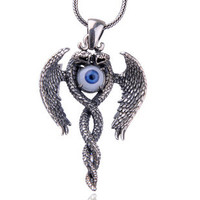 .925 Thai Silver Gothic Jewelry Blue Artificial Eye Pendant for Men w/ SILVER CHAIN