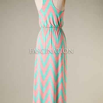 Racer Back Chevron Dress - Mint and Pink
