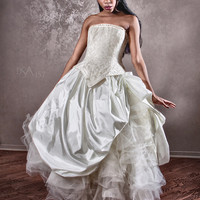 Velvet Cinderella Ball Gown Wedding Dress Cream by KMKDesignsllc