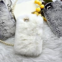 top Rabbit Fur Case for Iphone 4 4s case iPhone 5/5s/5c Case furry iPhone 5s Case, New HTC one Case Galaxy s5 fur S4 S3 Case iPhone 3gs Case