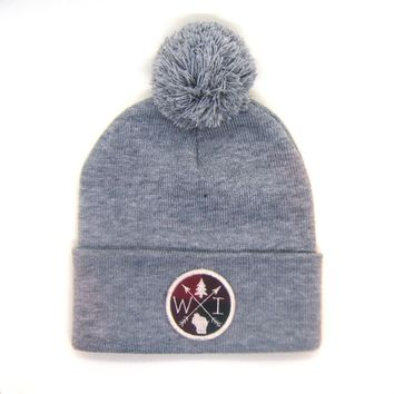 Wisconsin Beanie Gray - Arrow Patch Pom Pom Hat