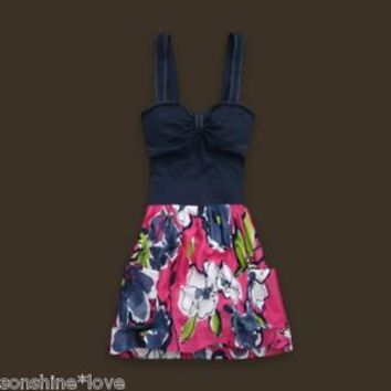 Hollister by Abercrombie Pink Blue Floral Color Block Logo Dress XS S M