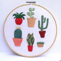 Succulent Plants Modern Embroidery Hoop Cactus Wall Art Succulent Gift
