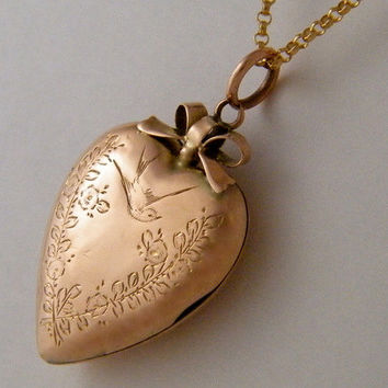 "c1880 ""Lovebirds""  9K Rose Gold Antique Locket Victorian Floral Bird Heart Necklace"