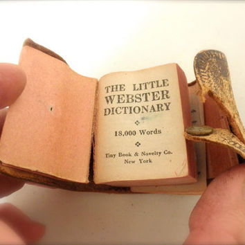 So Cute Vintage 20s Tiny Webster Dictionary 18000 Words in the Palm of Your Hand Leather Bound 1920s Art Deco