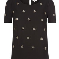 New Look Mobile | Black Embellished Cluster T-Shirt