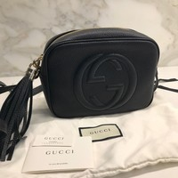 Auth Gucci Soho Disco Black Leather Crossbody Shoulder Bag