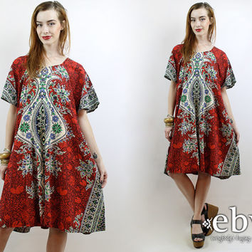 Indian Dress India Dress Hippie Dress Hippy Dress Festival Dress Plus Size Dress 70s Caftan 70s Kimono Indian Cotton Dress
