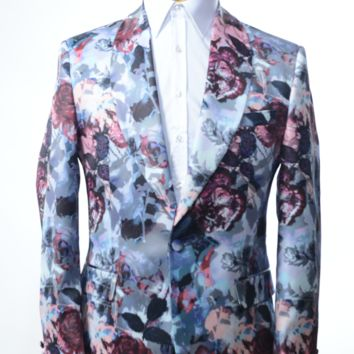 Allover Printed Neoprene Tuxedo Jacket - Grey