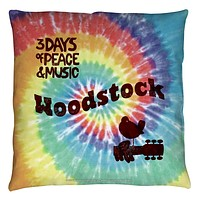Woodstock Tie Dye Retro Throw Pillow