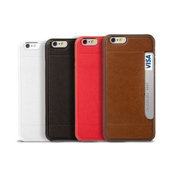 iPhone 6s Wallet Case - OZAKI O!coat 0.3 [POCKET] Ultra Slim & Light Weight Case For iPhone 6 & 6s (4.7) / Premium Leather / Card Holder / Sleek and Stylish / Incredibly Thin and Lightweight - White