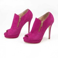 Fuschia Zipper Detail Bootie
