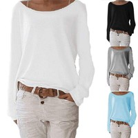 Women's Long Sleeve T Shirt Baggy Casual Jumper Tee Pure Color Loose Tops Blouse