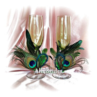 Peacock Wedding Champagne Glasses - Peacock Feathers Table Settings -  Peacock Green Stemware Decoration Glasses