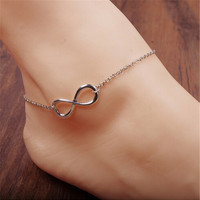 Fashion Indian Style Beach Gold Plated Lucky 8 Curved Tassel Anklet Foot Jewelry Chain Link Ankle Bracelets-trq