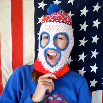 70's 80's Ski Mask Winter Wool Knit Hat // Pom Pom // Red White Blue