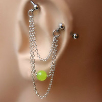 Industrial Barbell Ear Piercing green quartz