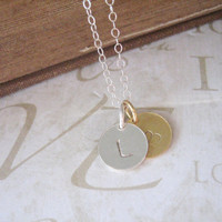 DARLING personalized hand stamped initial necklace by brideblu