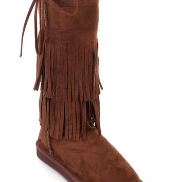 Brown Flat Fringe Round Close Toe Mid-Calf Boots Faux Suede
