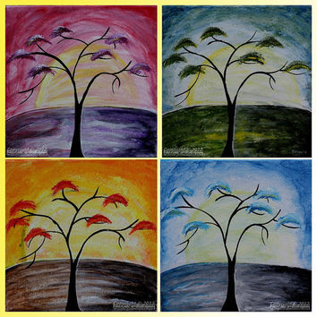 Original Acrylic Tree Painting, Living Room, Children Room, Office, Modern Art, Seasons, Sun, Spring, Summer, Fall, Winter, Composition