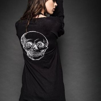 Dust and Bones Long Knit Skull Cardigan