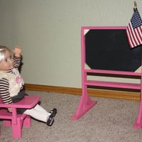 American Girl or 18 inch Doll School Two Sided Chalkboard and Desk/Chair
