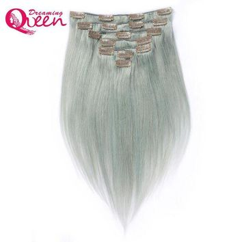 CUPUP9G Dreaming Queen Hair Straight Hair Clip In Brazilian Remy Human Hair Extensions Silver Grey Color 7 Pieces/Set 120g Clips