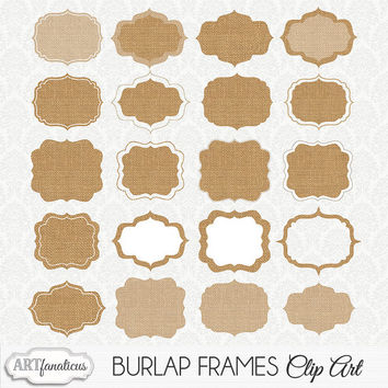 "Clipart ""BURLAP FRAMES CLIPART"" 20 shabby chic, burlap, rustic clip art frames for photographers,albums, wedding invitations & scrapbooking"