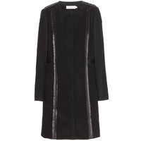 tory burch - heather wool-blend and leather coat