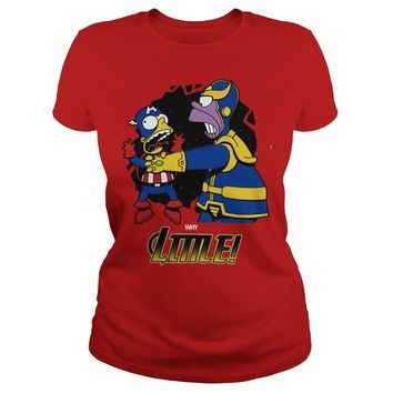 Homer Simpson Thanos vs Bart Simpson Captain America shirt Ladies Tee
