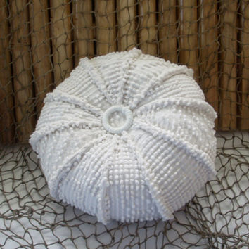 Small chenille hobnail sea urchin, sealife, ocean living,coastal living,nautical pillow, home decor, nautical decor, throw pillow cushion