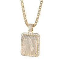 Gold Iced Cube Necklace