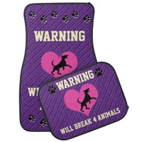 Warning I Break 4 Animals Purple Stripes Car Mats