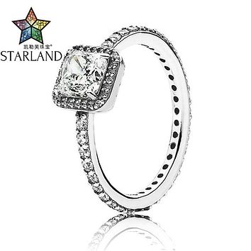 Starland Fine Detail Authentic 925 Sterling Silver Ring Eternal Grace Four Claw Square CZ Rings For Women Wedding Jewelry Gifts